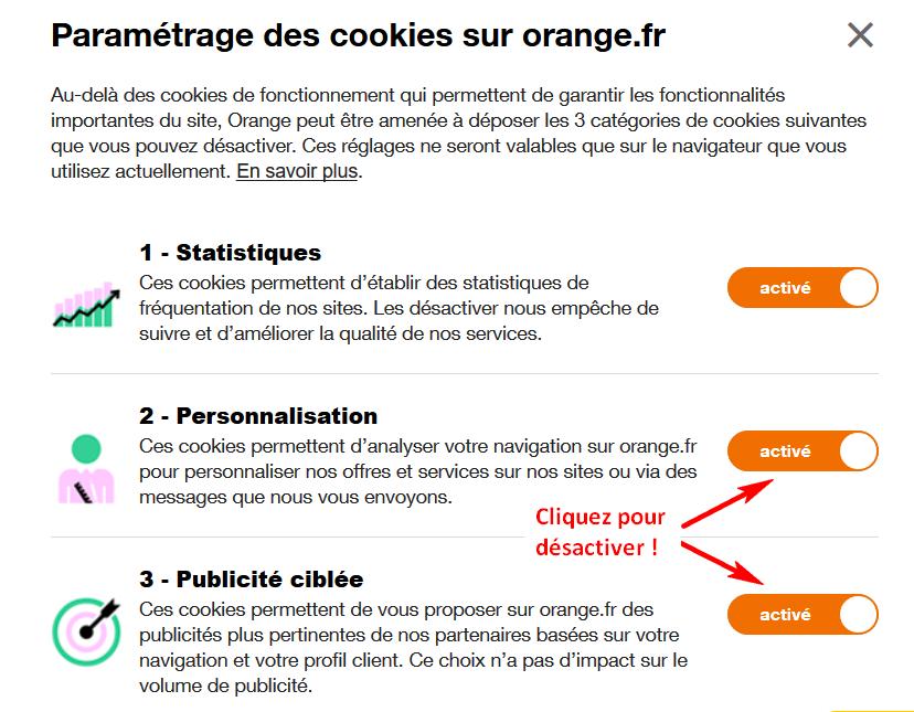 désactiver la personnalisation et la publicité ciblée sur les paramètres de cookies d'orange